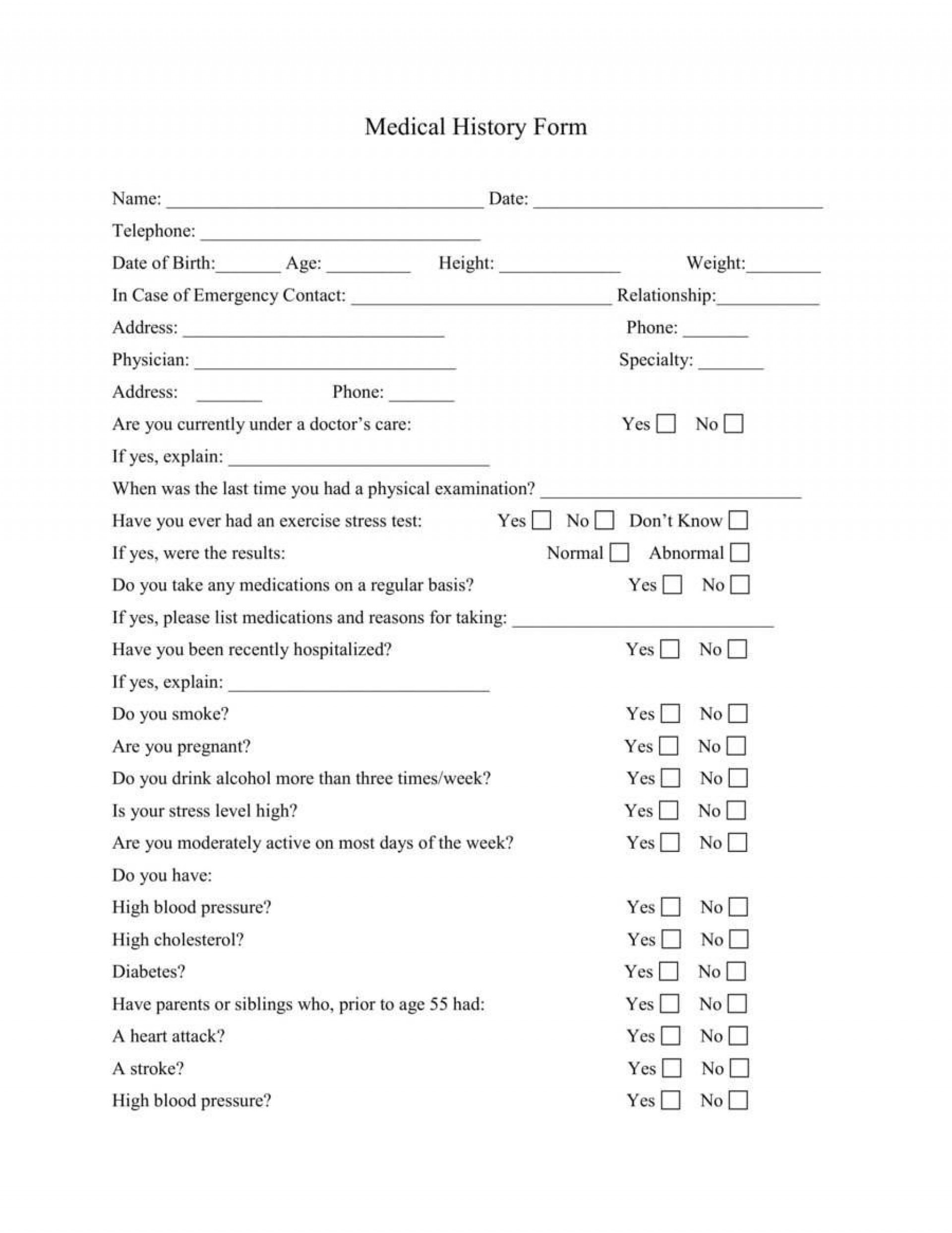 003 Fearsome Medical History Form Template For Personal Training High Definition 1920