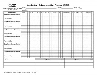 003 Fearsome Medication Administration Record Template Pdf Highest Quality  Simple Free320