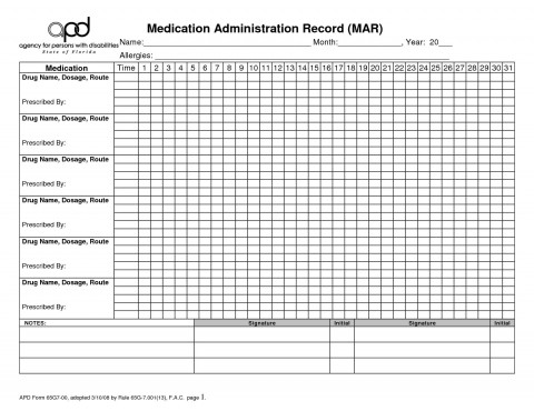 003 Fearsome Medication Administration Record Template Pdf Highest Quality  Simple Free480