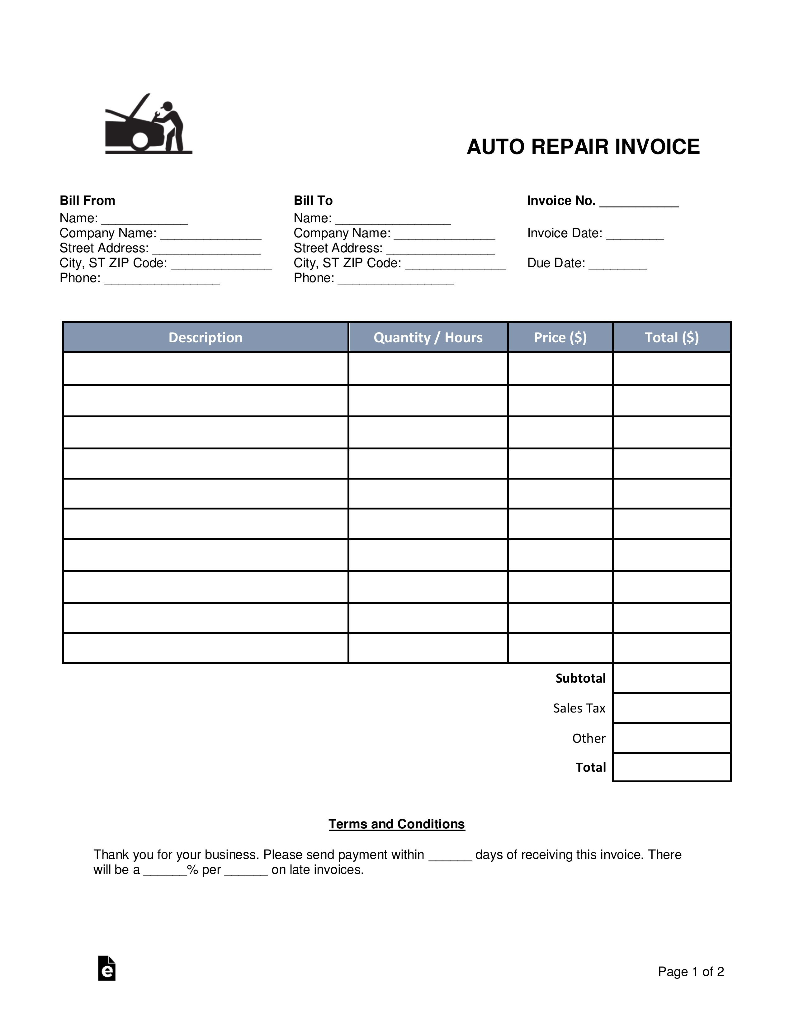 003 Fearsome Microsoft Word Auto Repair Invoice Template High Definition Full