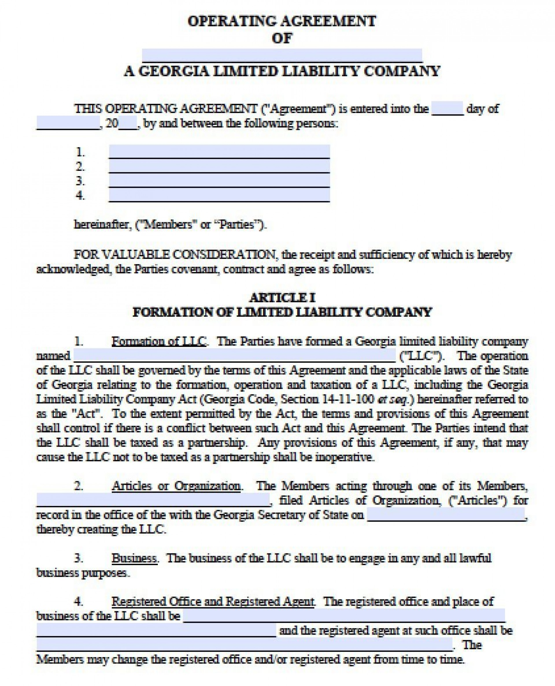 003 Fearsome Operation Agreement Llc Template Highest Quality  Operating Florida Indiana Single Member California1920