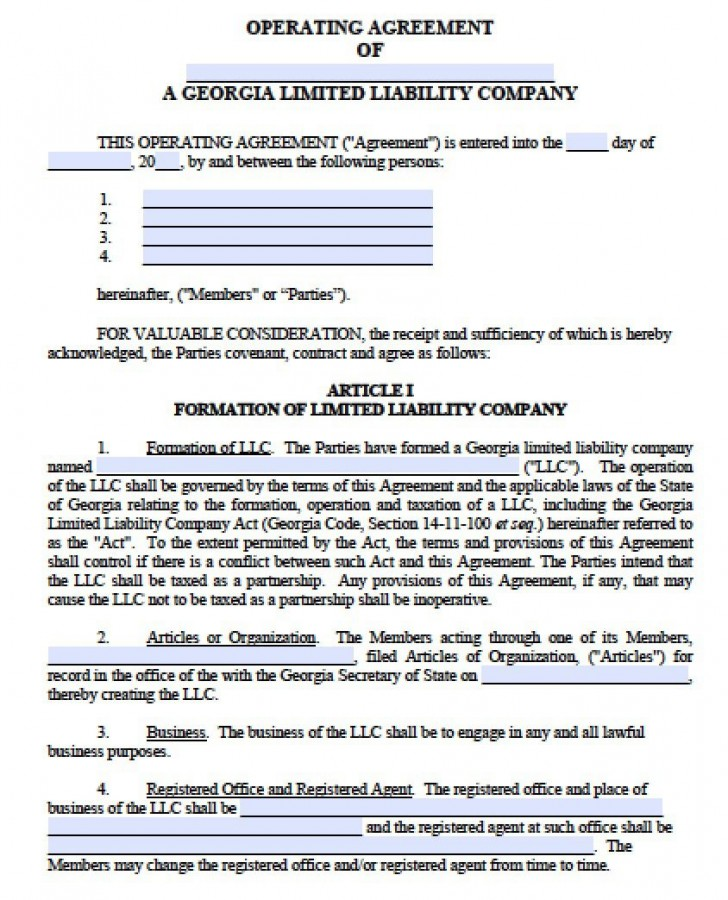 003 Fearsome Operation Agreement Llc Template Highest Quality  Operating Florida Indiana Single Member California728