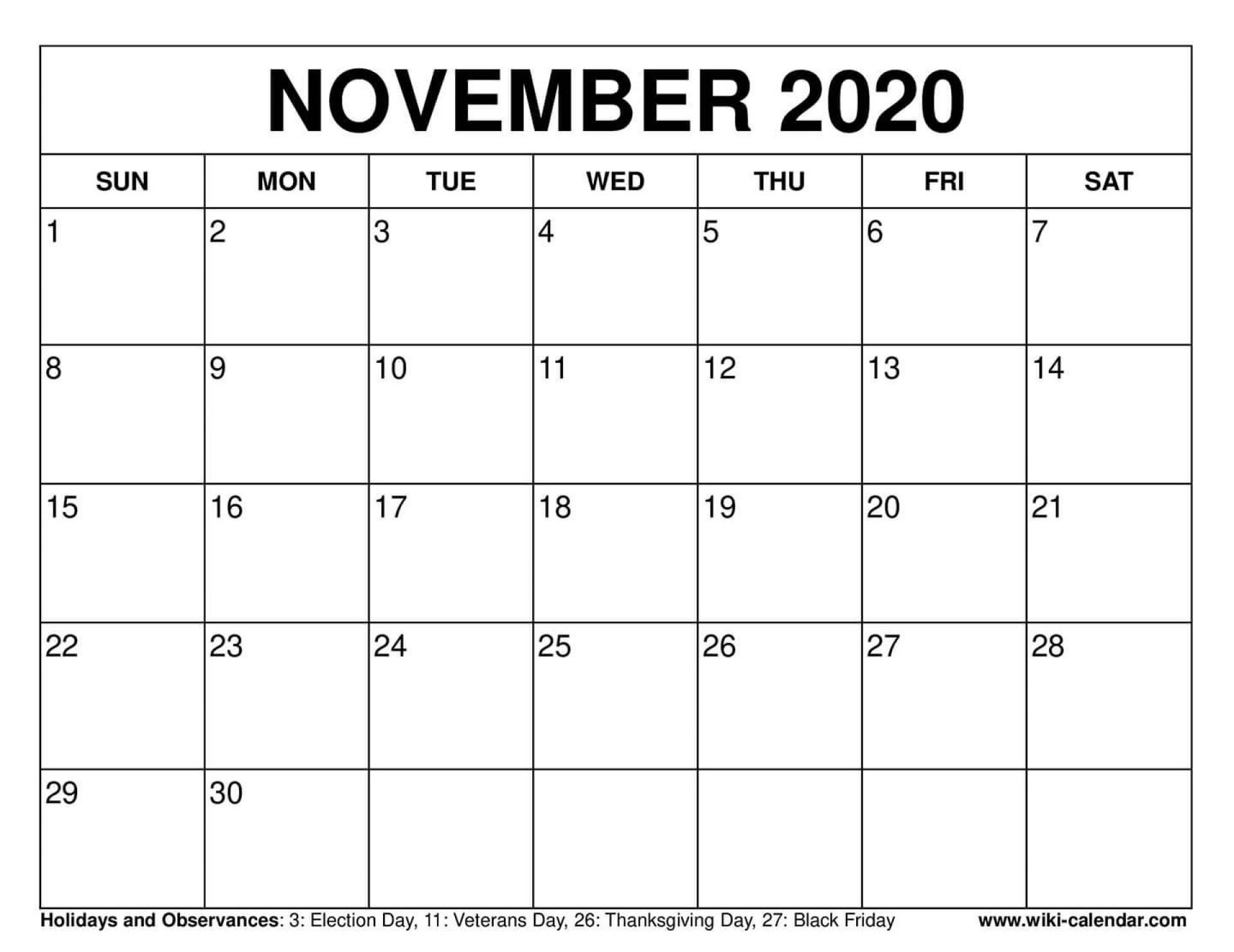 003 Fearsome Printable Calendar Template November 2020 Sample  Free1920