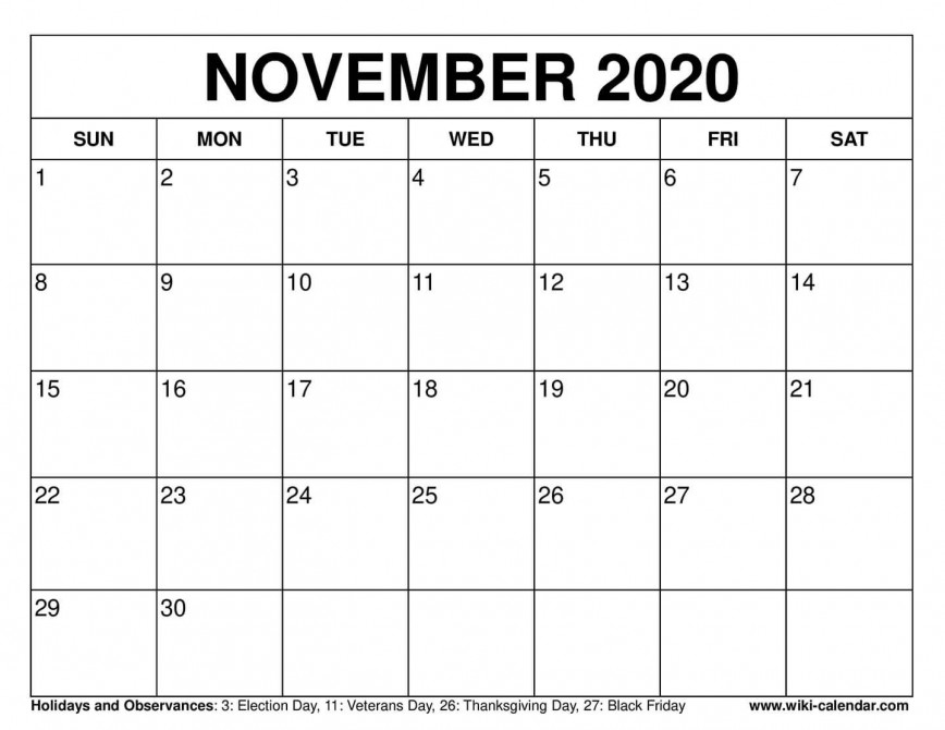 003 Fearsome Printable Calendar Template November 2020 Sample  Free
