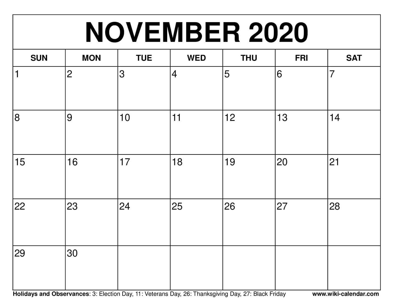 003 Fearsome Printable Calendar Template November 2020 Sample  FreeFull
