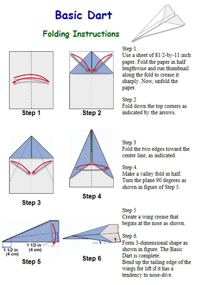 003 Fearsome Printable Simple Paper Airplane Instruction Highest Clarity  Plane868