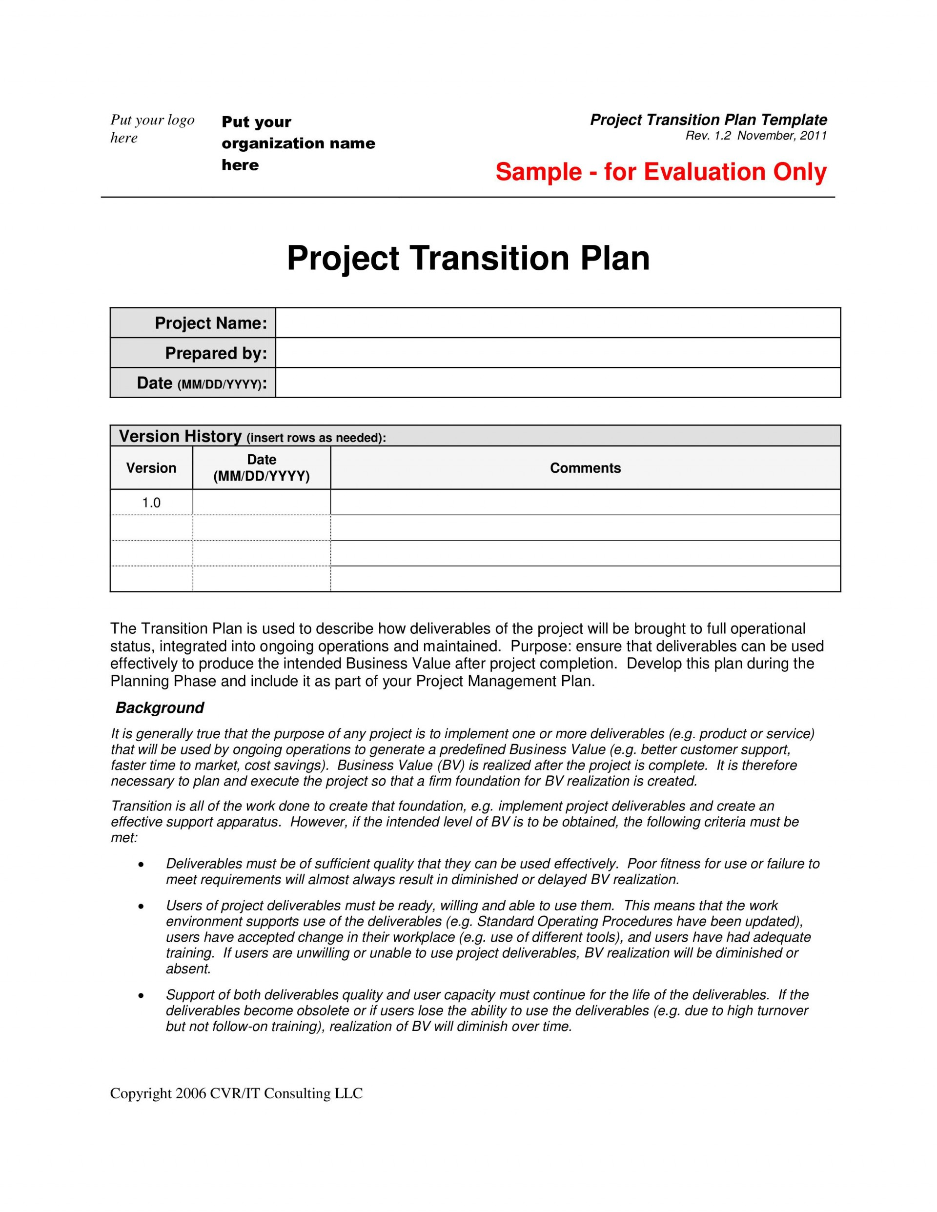 003 Fearsome Project Transition Plan Template High Resolution  Excel Download Software Sample1920