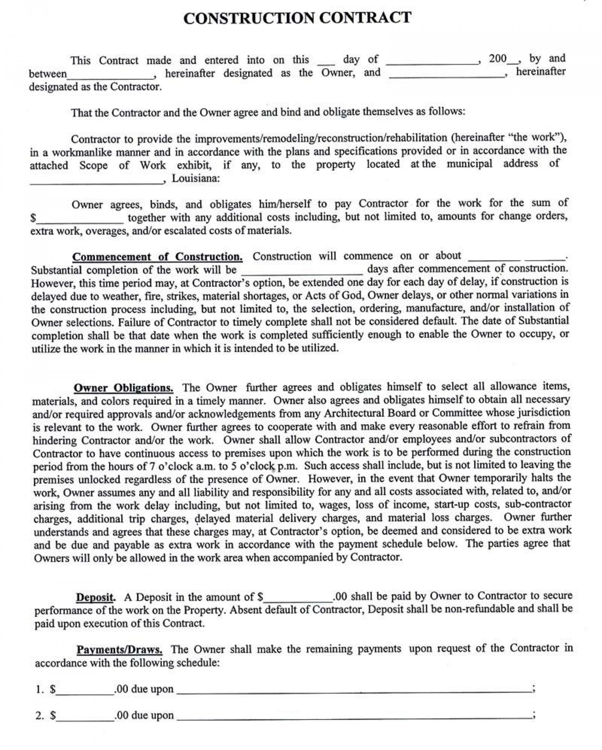 003 Fearsome Residential Construction Contract Template High Def  House Agreement Pdf1920
