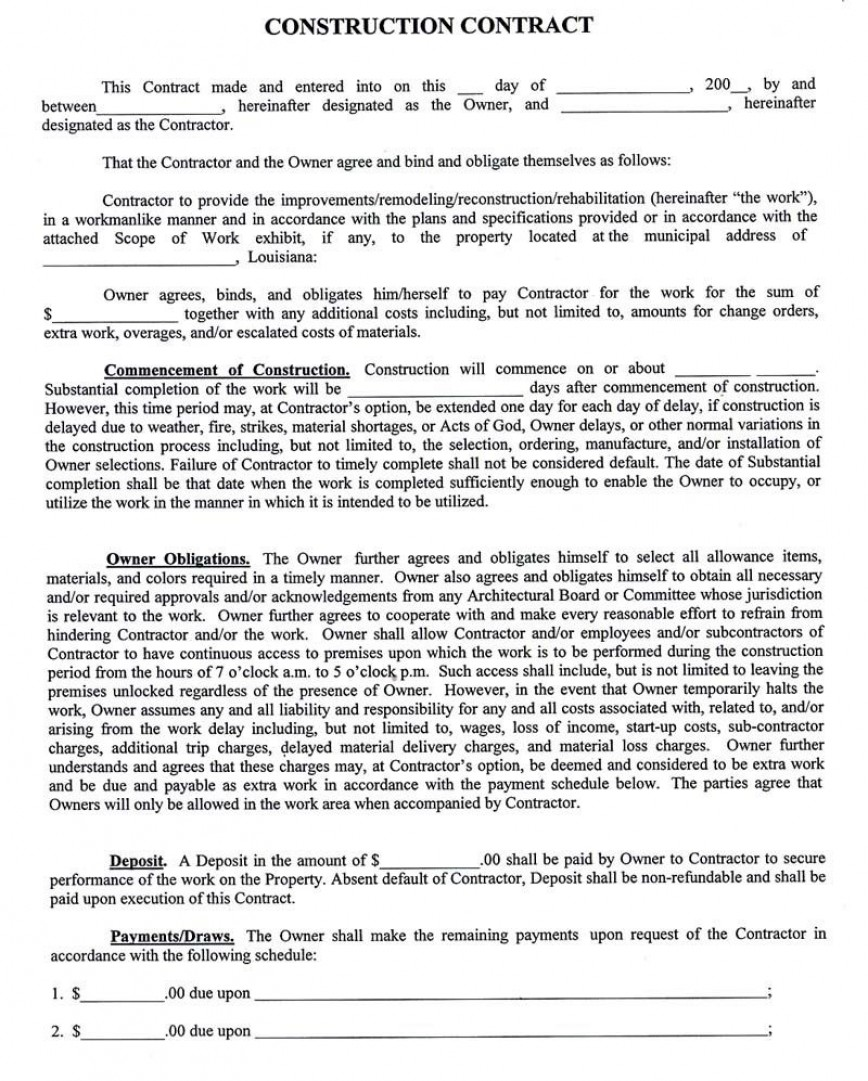 003 Fearsome Residential Construction Contract Template High Def  House Agreement In Tamil