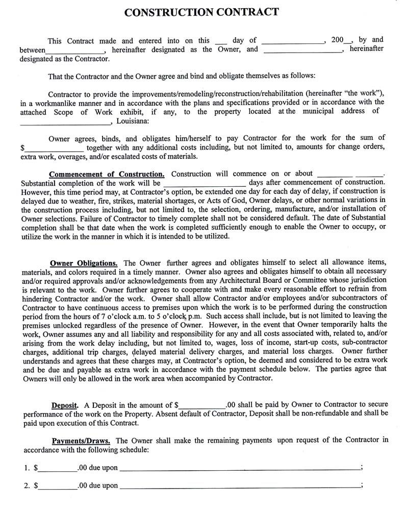 003 Fearsome Residential Construction Contract Template High Def  House Agreement PdfFull