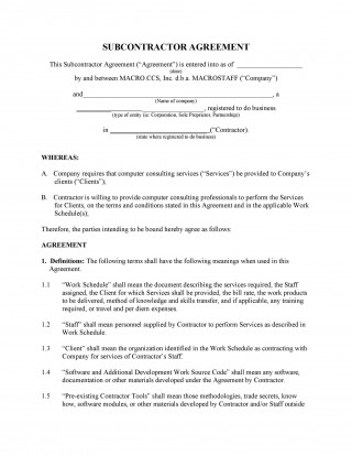 003 Fearsome Subcontractor Contract Template Free Image  Uk320