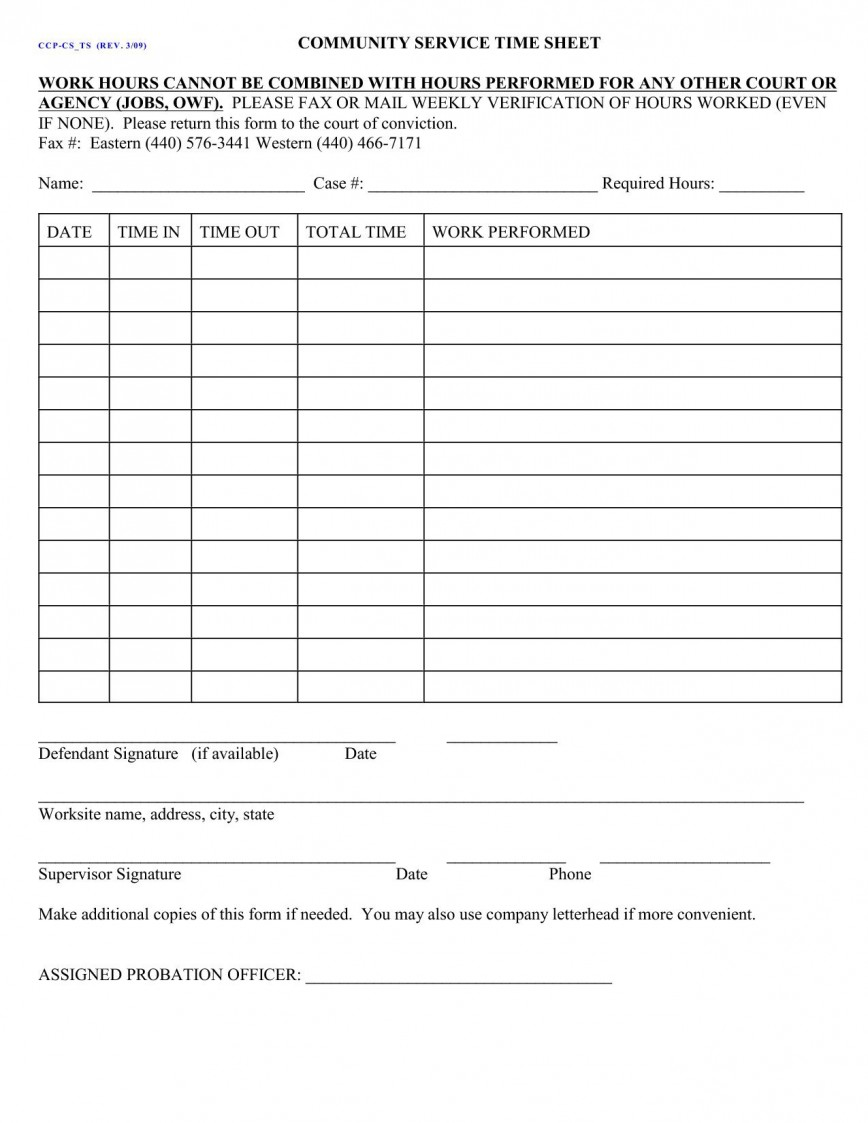 003 Fearsome Volunteer Hour Form Template Inspiration  Student Service