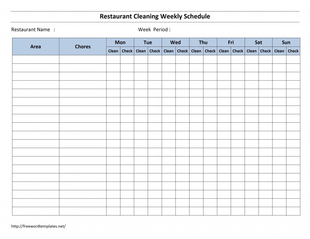 003 Fearsome Weekly Cleaning Schedule Form High Resolution  Template Restaurant ExcelLarge