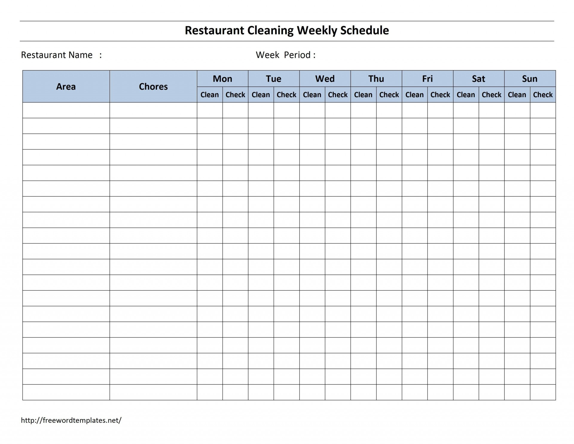 003 Fearsome Weekly Cleaning Schedule Form High Resolution  Template Restaurant Excel1920