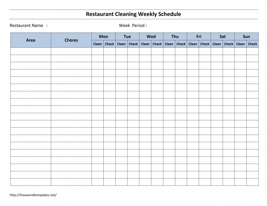 003 Fearsome Weekly Cleaning Schedule Form High Resolution  Template Restaurant Pdf Checklist For Office