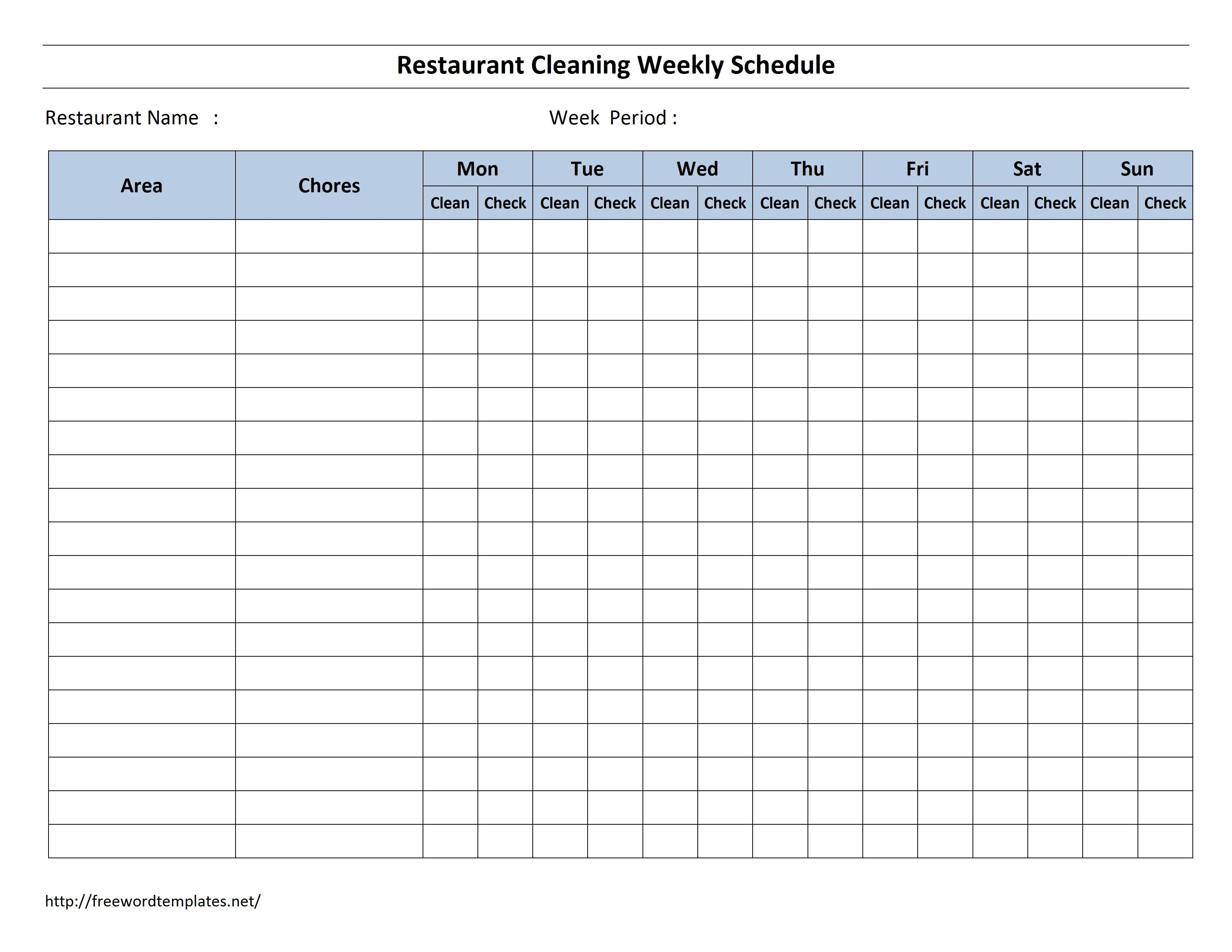 003 Fearsome Weekly Cleaning Schedule Form High Resolution  Template Restaurant ExcelFull