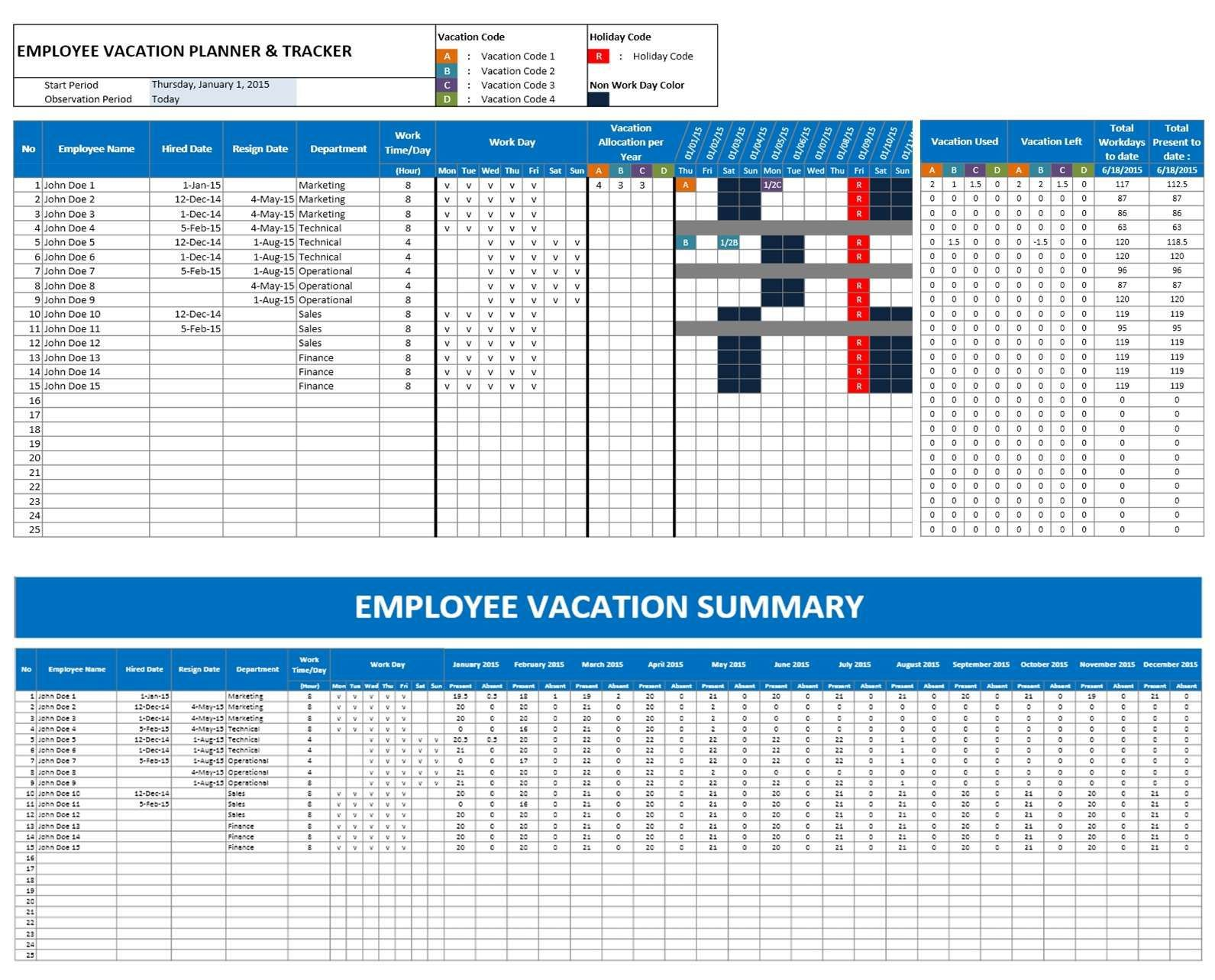 003 Formidable Employee Calendar Template Excel Example  Staff Leave Vacation PlannerFull