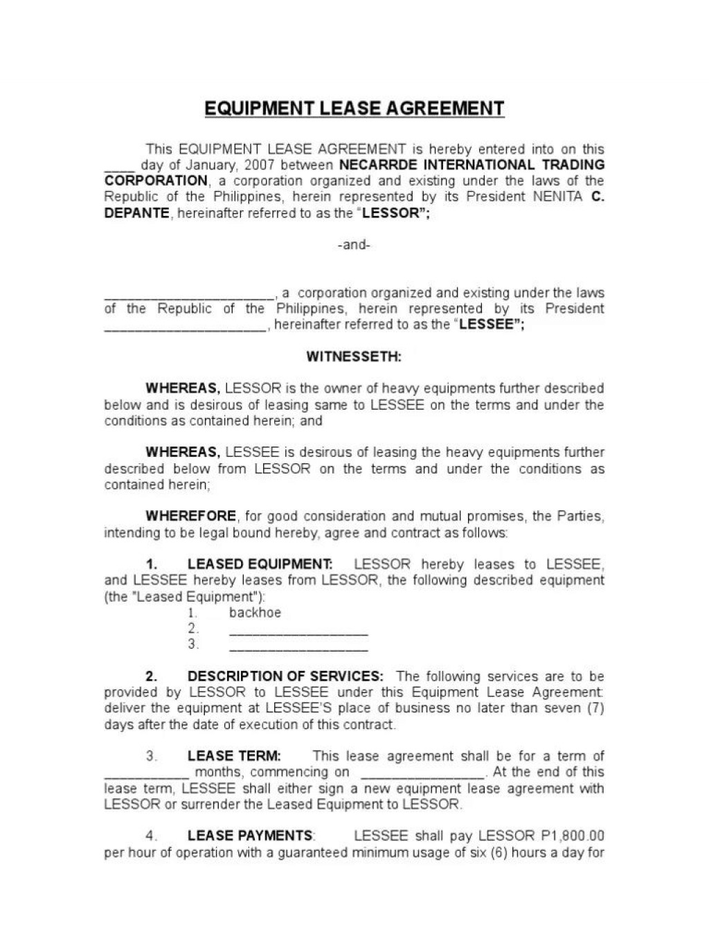 003 Formidable Equipment Rental Agreement Template High Resolution  Canada Free South Africa PdfLarge