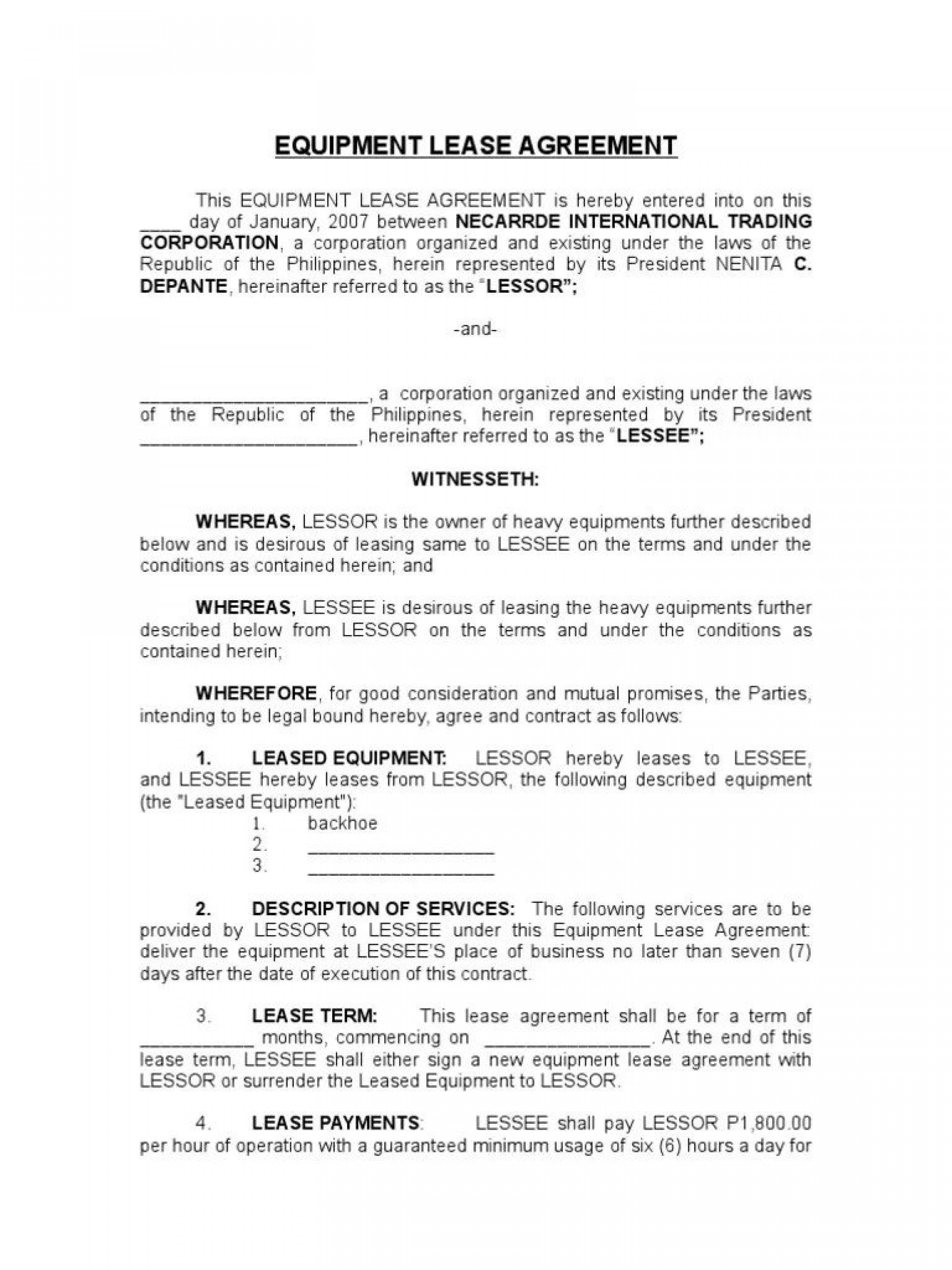 003 Formidable Equipment Rental Agreement Template High Resolution  Canada Free South Africa Pdf1920