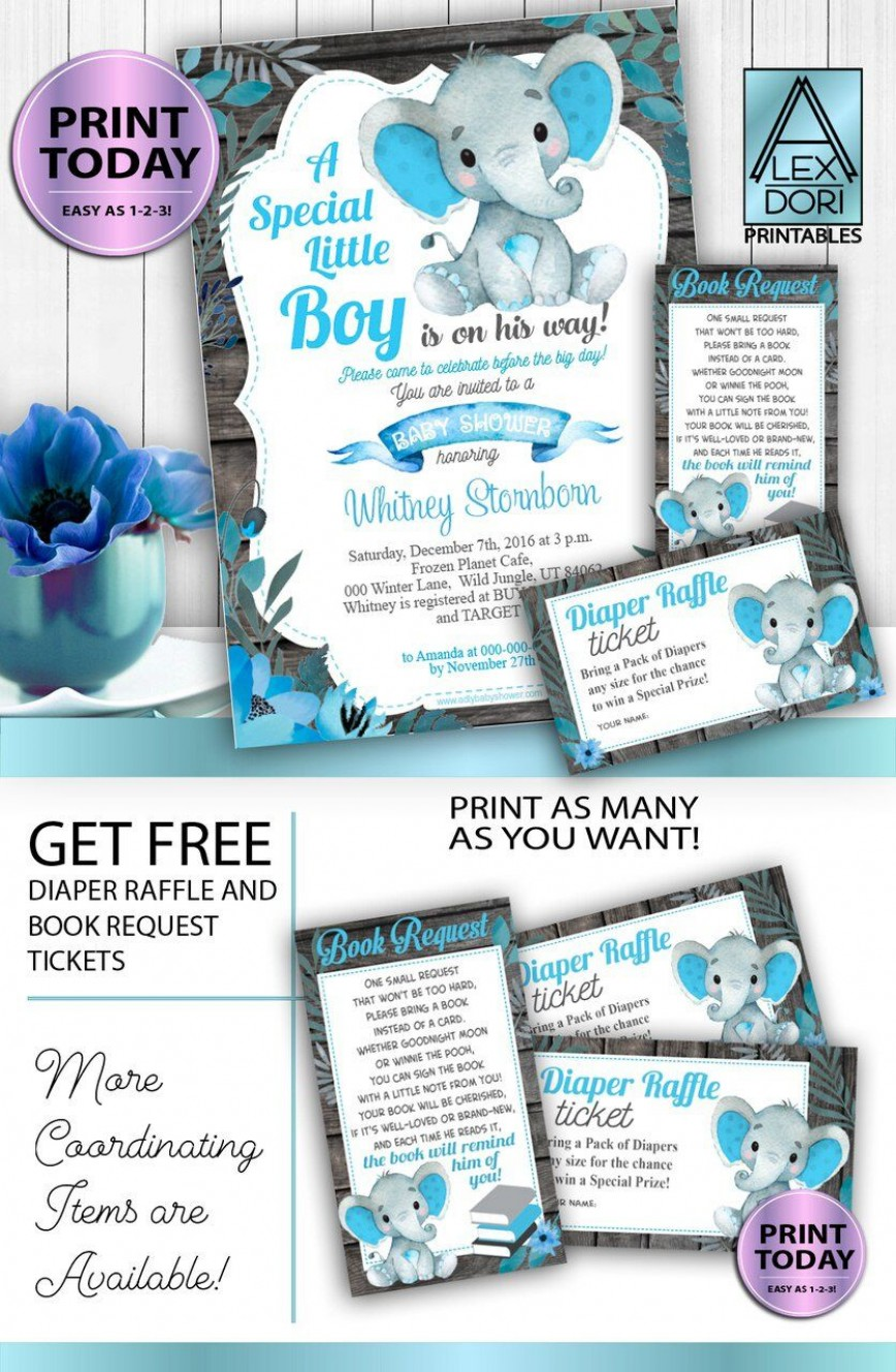 003 Formidable Free Baby Shower Printable Elephant High Definition  Blue Decoration