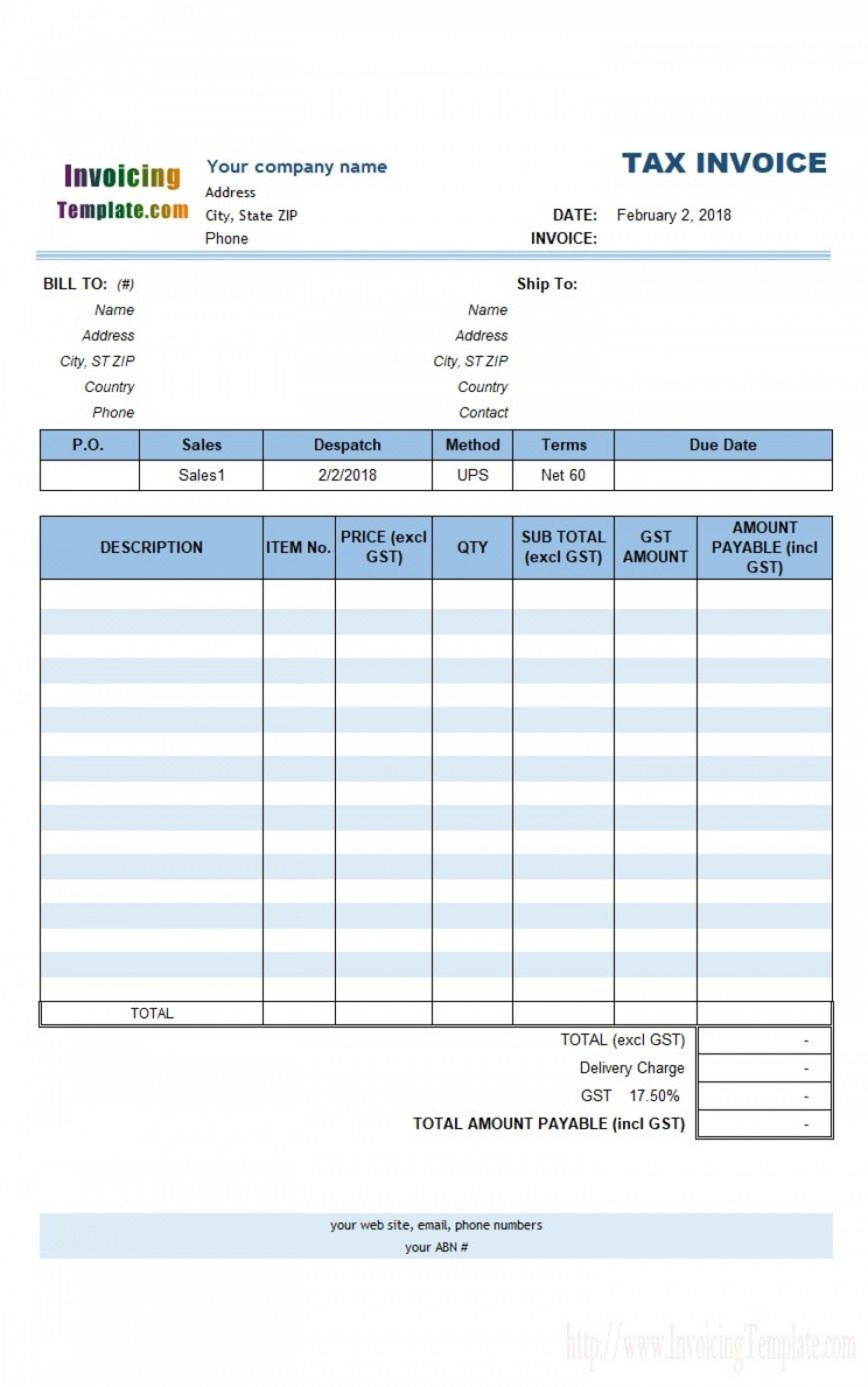003 Formidable Free Excel Invoice Template Gst India Concept 1920