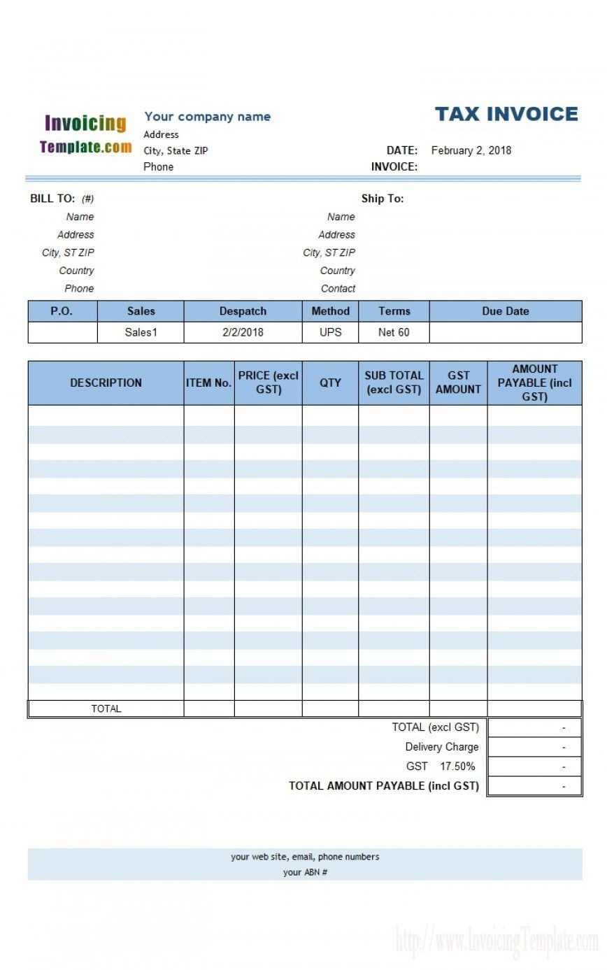 003 Formidable Free Excel Invoice Template Gst India Concept