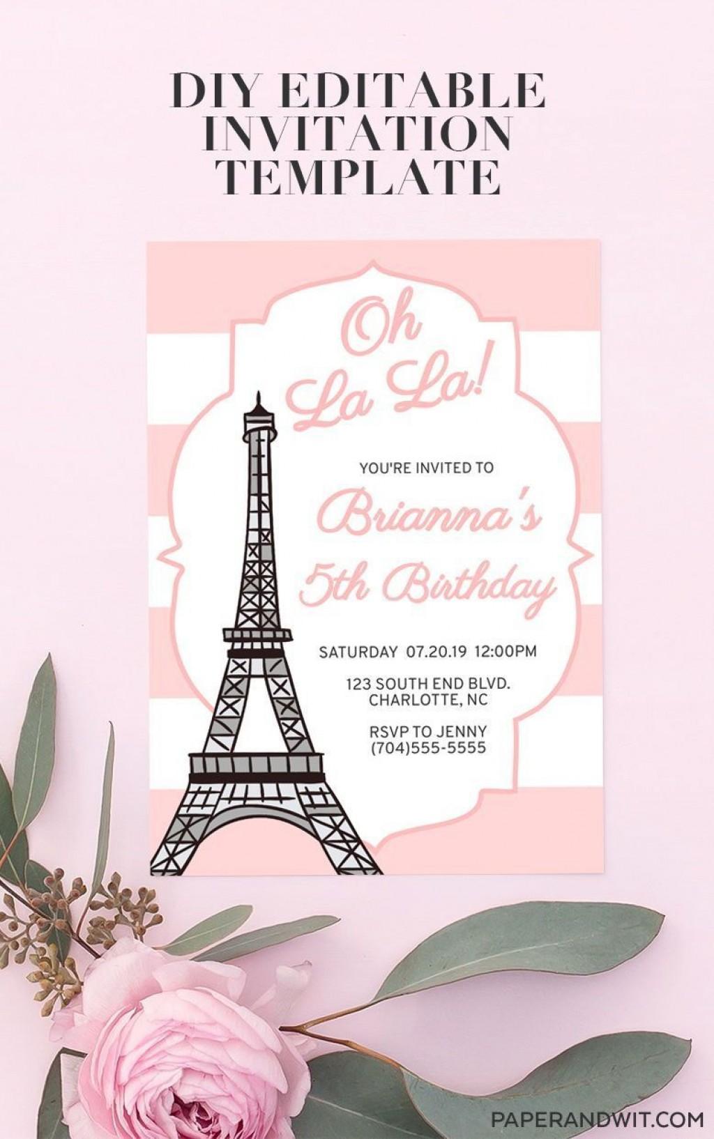 003 Formidable Pari Birthday Invitation Template Free Inspiration Large