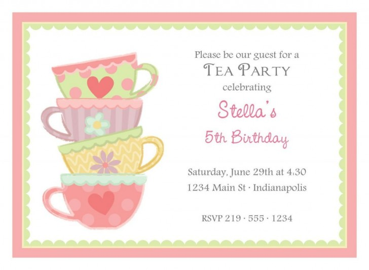 003 Formidable Tea Party Invitation Template Image  Wording Vintage Free Sample728