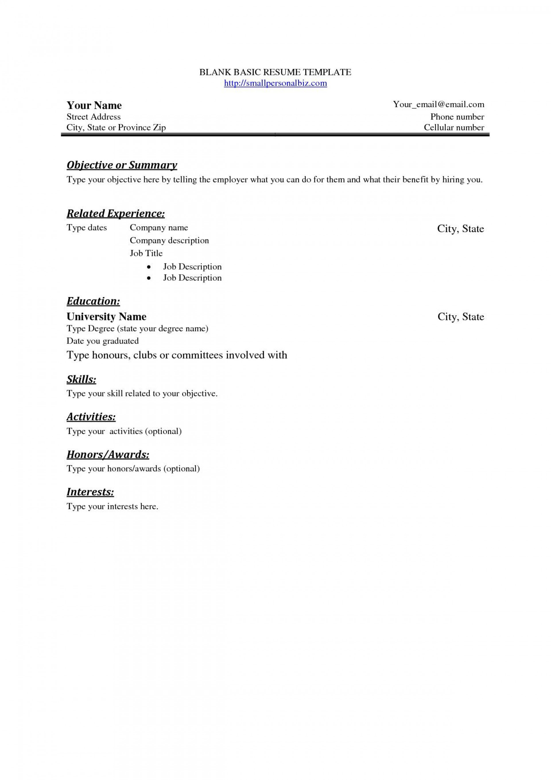 003 Frightening Basic Resume Template Free Highest Quality  Easy Download Word Australia Doc1920