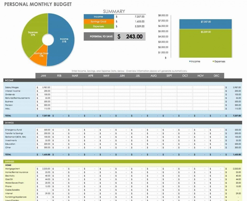 003 Frightening Excel Monthly Bill Template Example  Personal Budget Free DownloadLarge