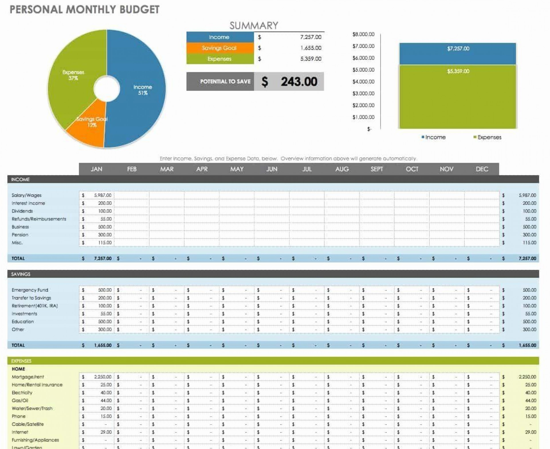 003 Frightening Excel Monthly Bill Template Example  Personal Budget Free Download1920