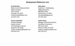 003 Frightening List Of Professional Reference Template Sample  Employment Format