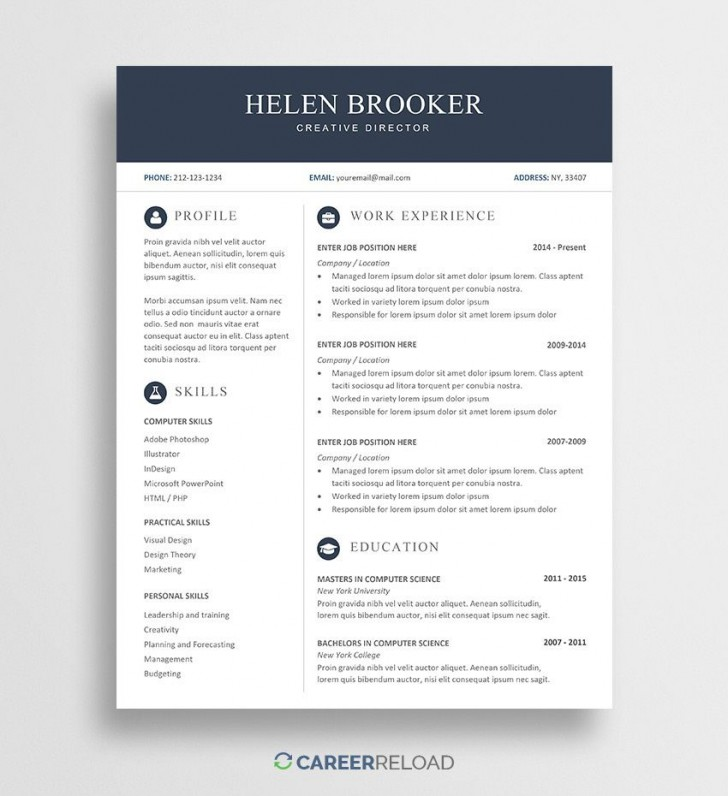003 Frightening Modern Cv Template Word Free Download 2019 Highest Clarity 728