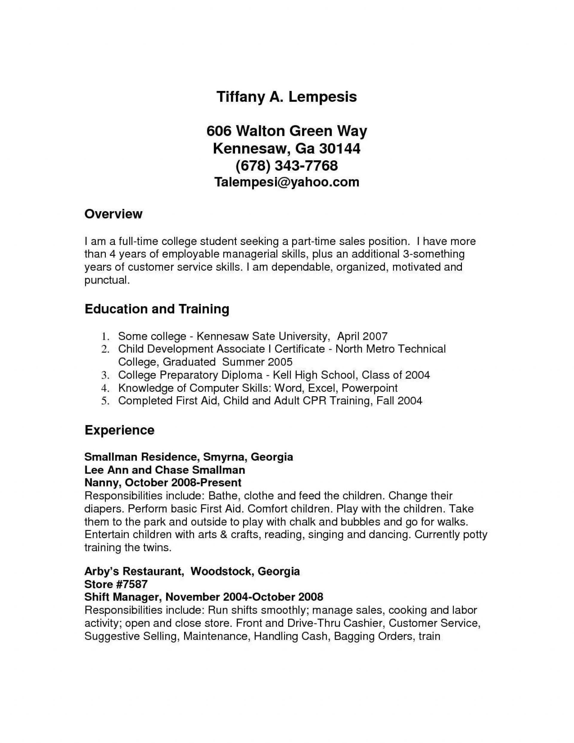003 Frightening Part Time Job Resume Template Example  Student Summary1920