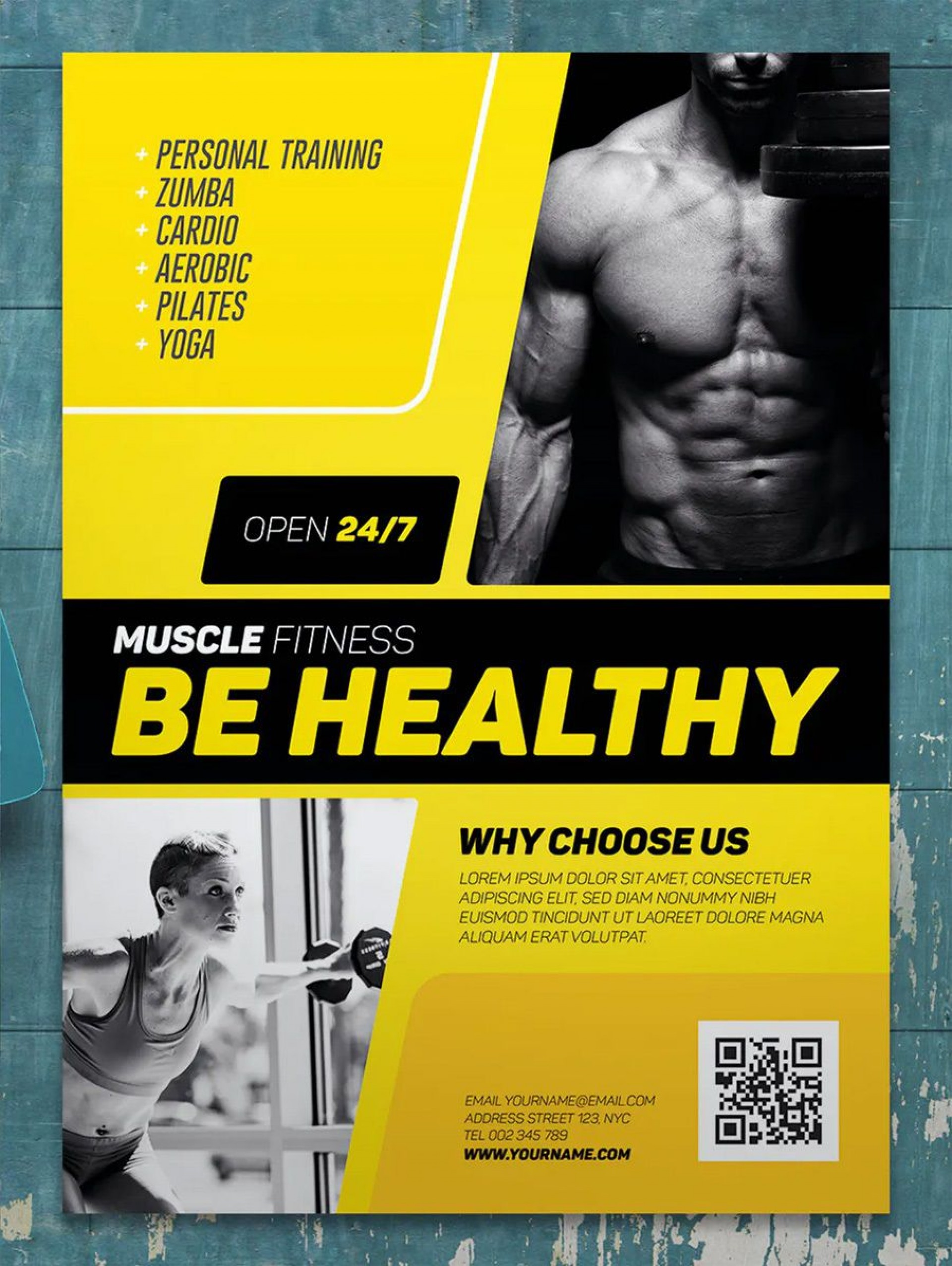 003 Frightening Personal Trainer Flyer Template Example  Word Psd1920