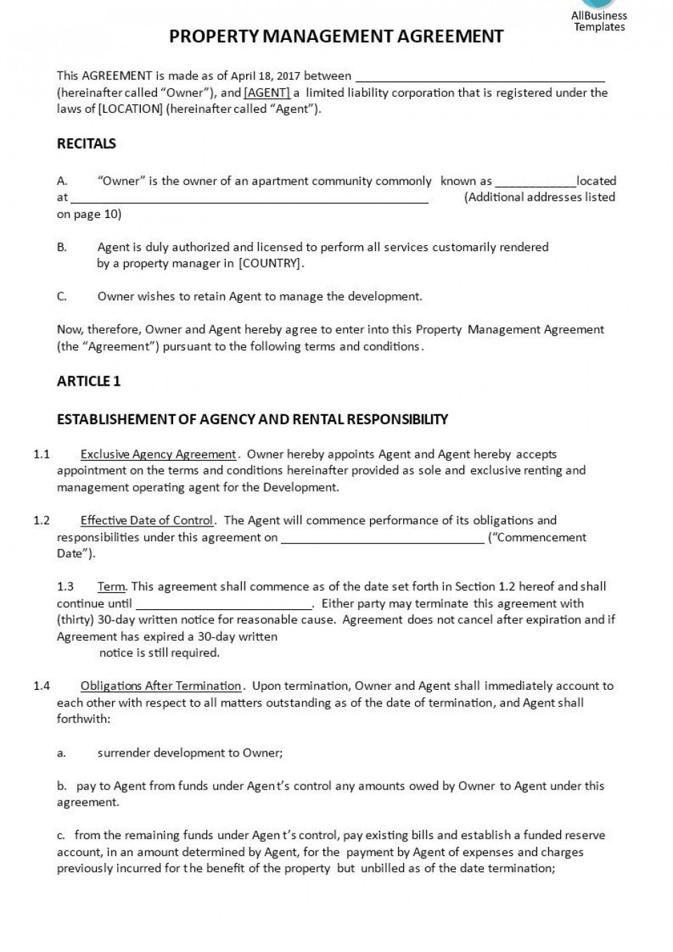 003 Frightening Rental Property Management Contract Sample Highest Quality  Vacation Template960