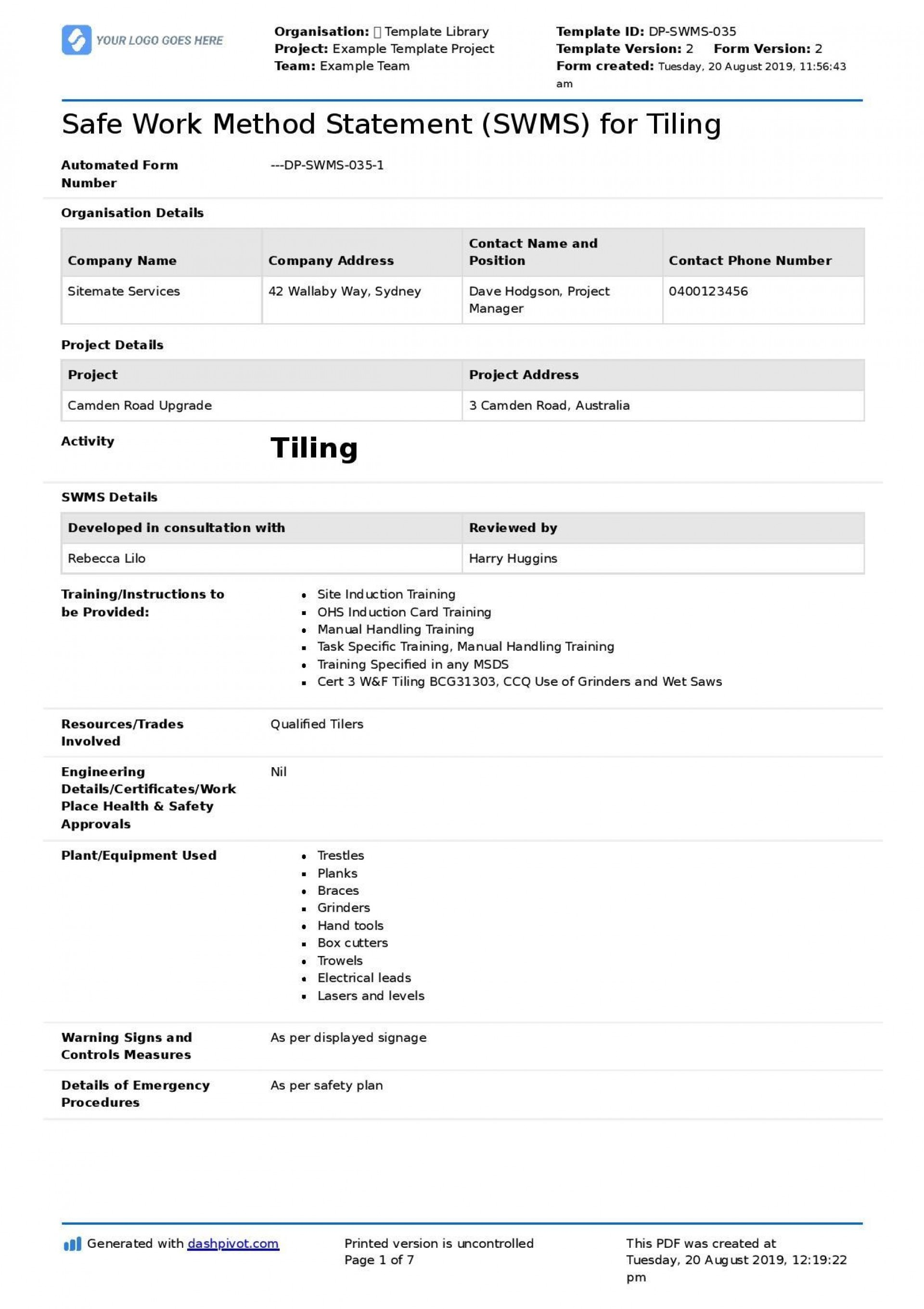 003 Frightening Site Specific Safety Plan Form Concept  Forms Evaluation1920