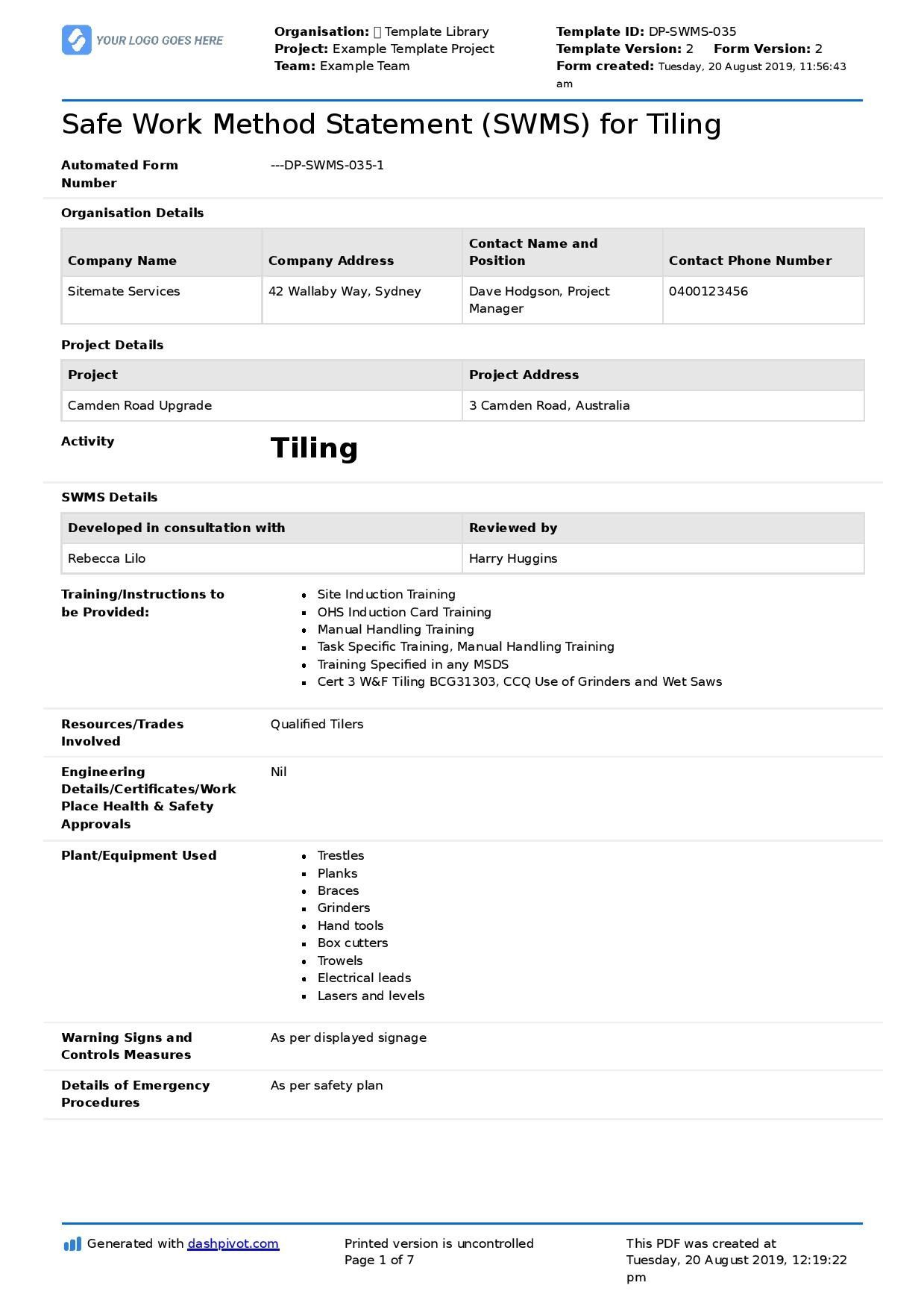 003 Frightening Site Specific Safety Plan Form Concept  Forms EvaluationFull