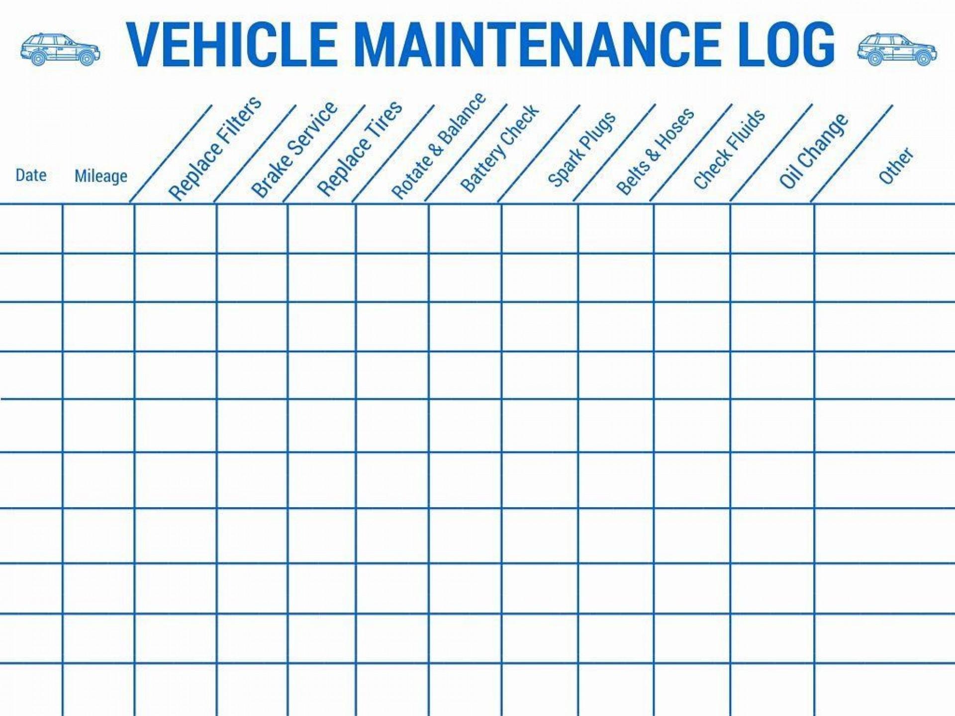 003 Imposing Car Maintenance Schedule Template Photo  Vehicle Preventive Excel Log1920