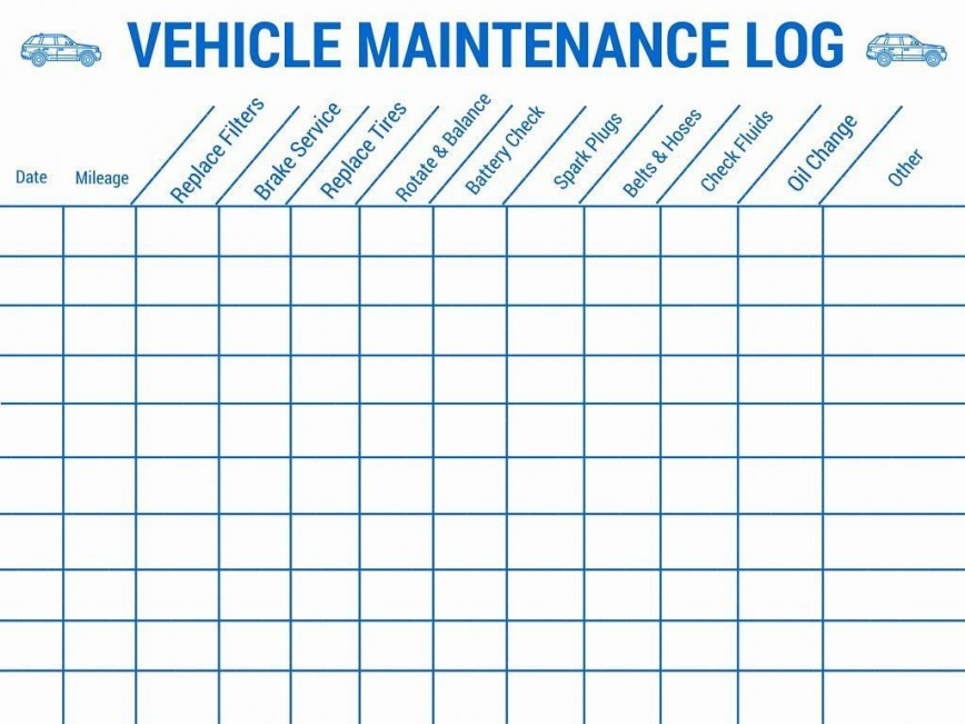 003 Imposing Car Maintenance Schedule Template Photo  Company Checklist Heavy Vehicle Service
