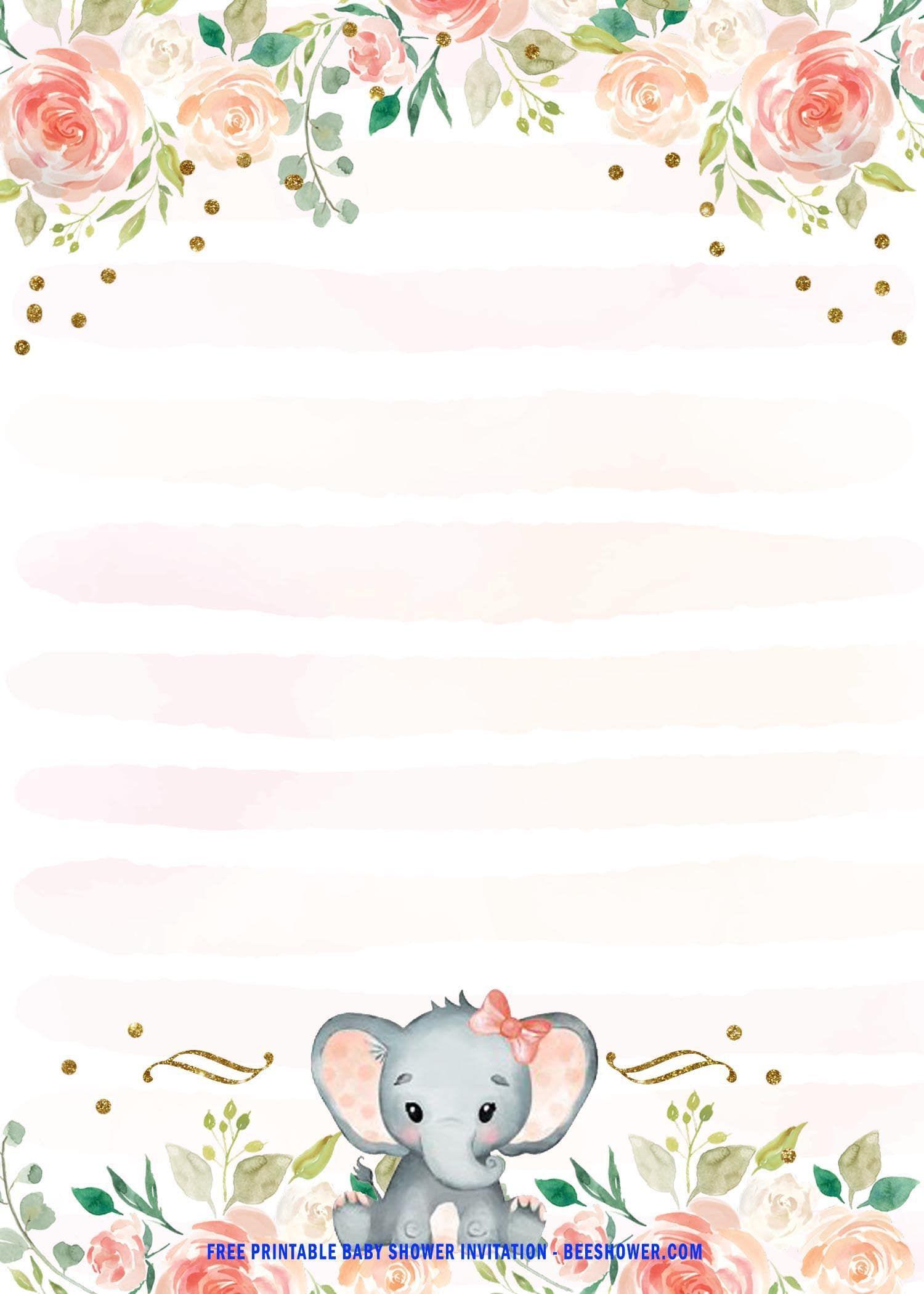 003 Imposing Elephant Girl Baby Shower Invitation Template Idea  Templates PinkFull