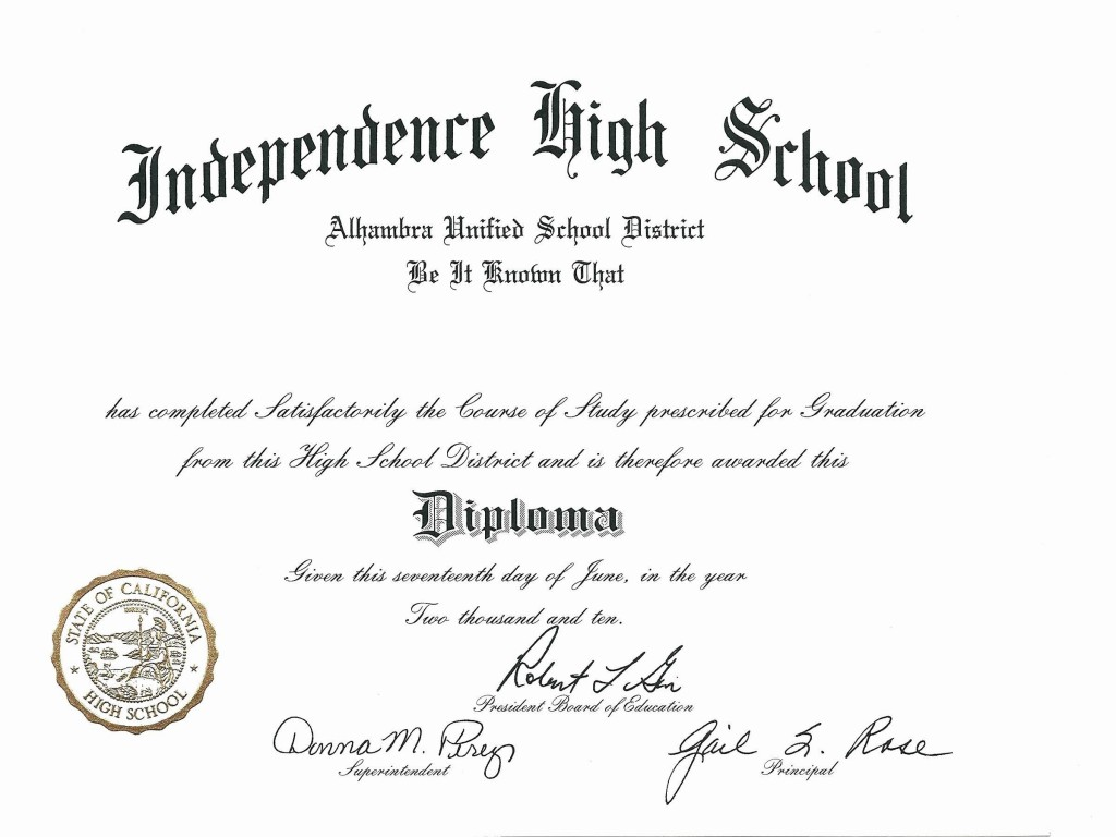 003 Imposing Free Printable High School Diploma Template Def  With SealLarge