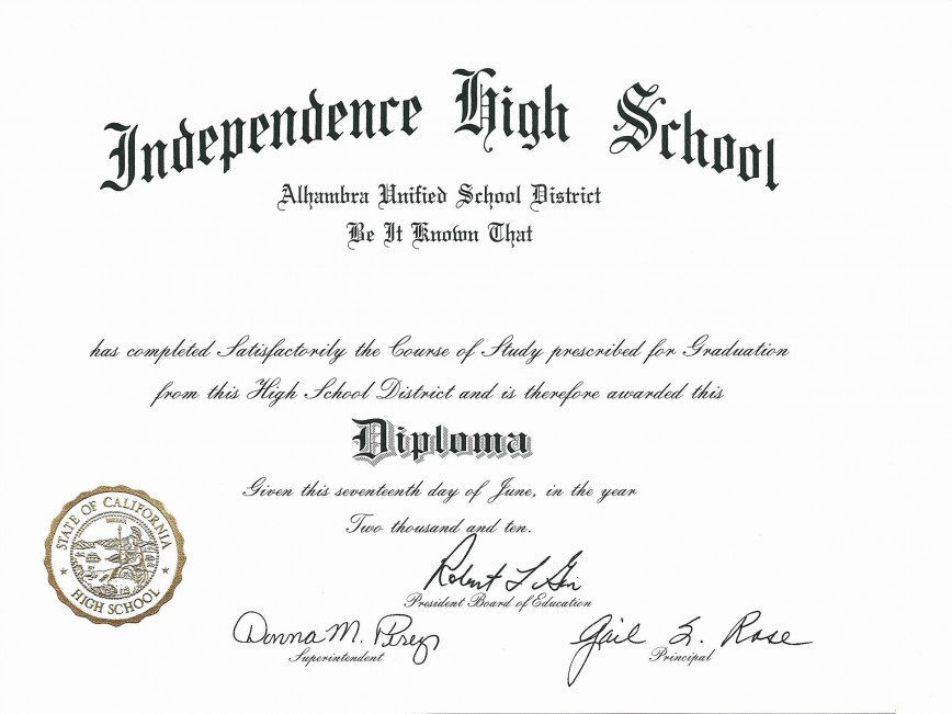 003 Imposing Free Printable High School Diploma Template Def  With Seal