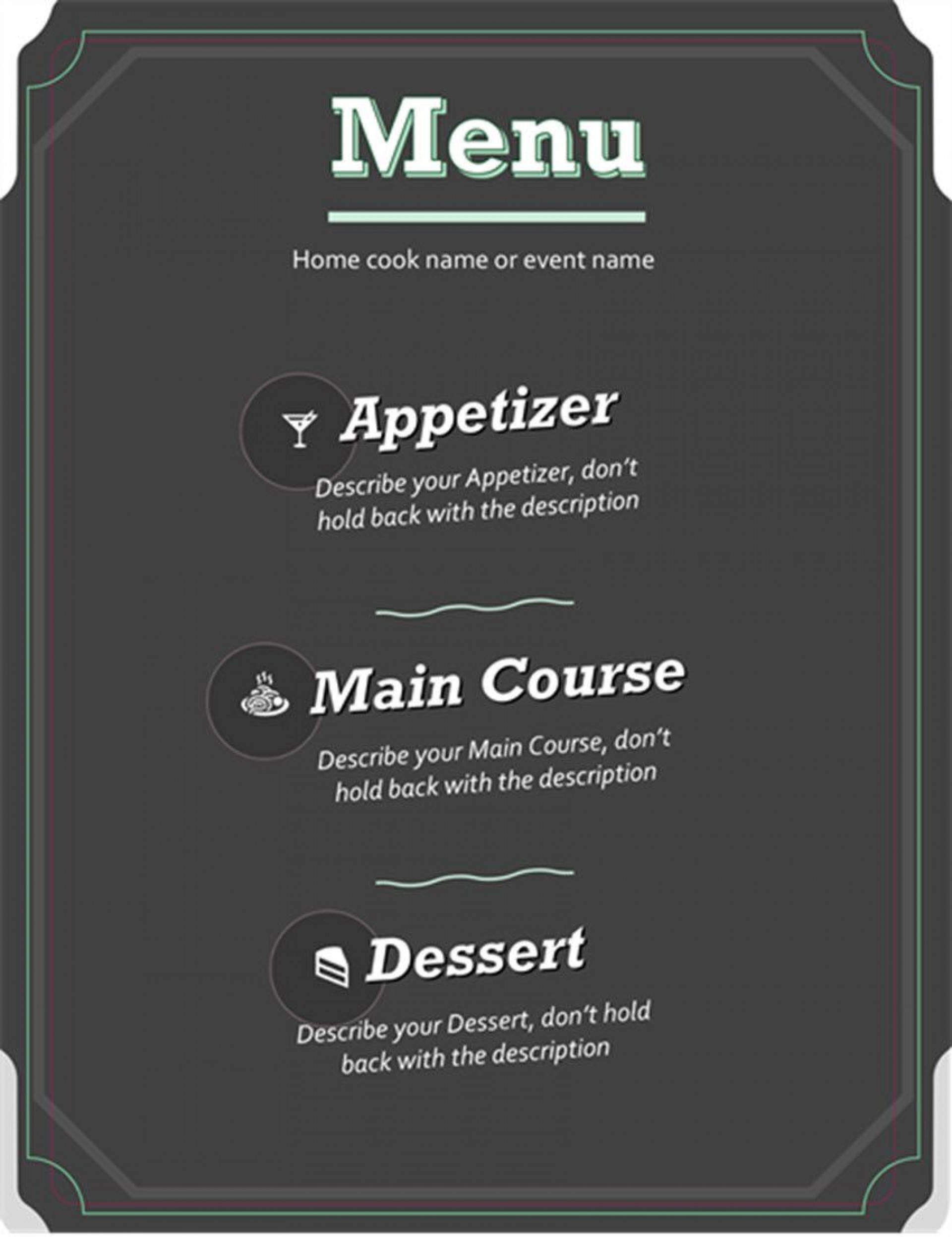 003 Imposing Menu Template Free Download Word Concept  Dinner Party Wedding1920