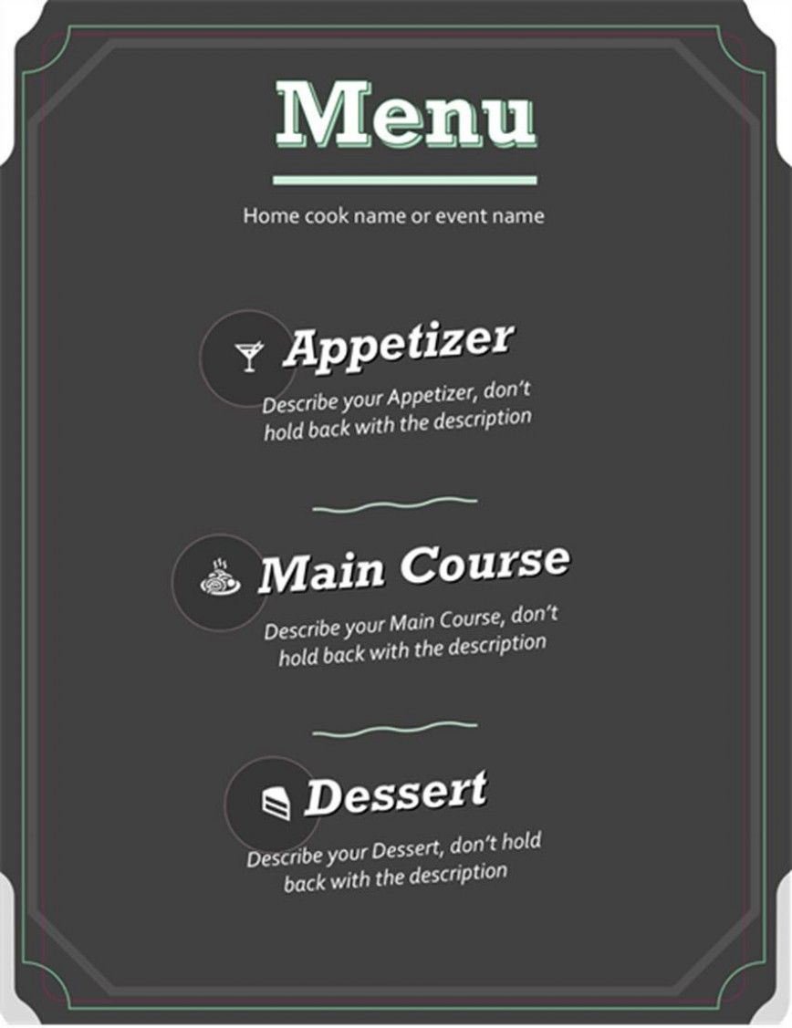 003 Imposing Menu Template Free Download Word Concept  Dinner Party Restaurant