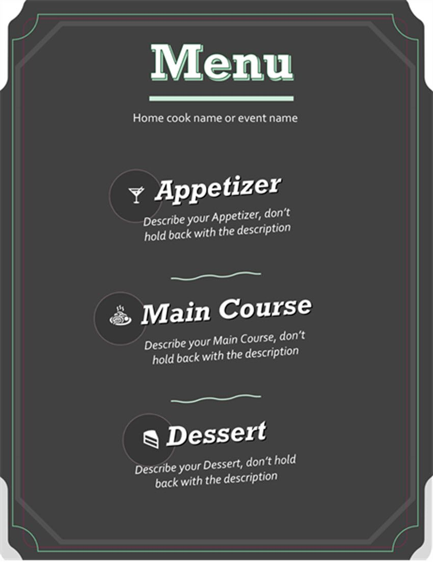 003 Imposing Menu Template Free Download Word Concept  Dinner Party WeddingFull