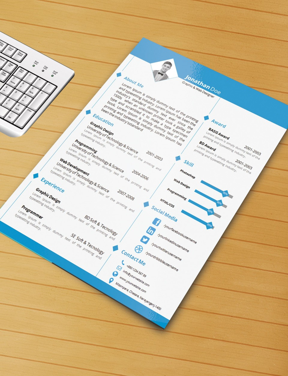 003 Imposing Microsoft Word Template Download Image  M Cv Free Header960