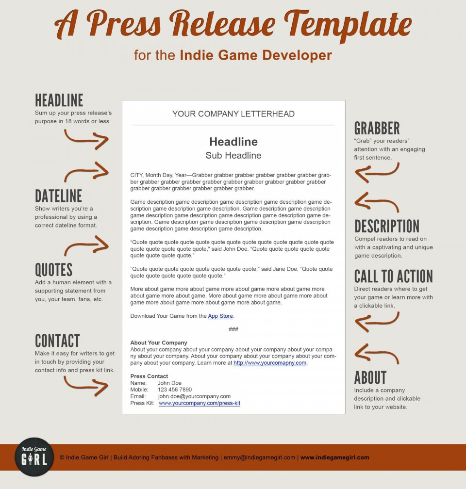 003 Imposing Pres Release Template Free Design  Google Doc Download960