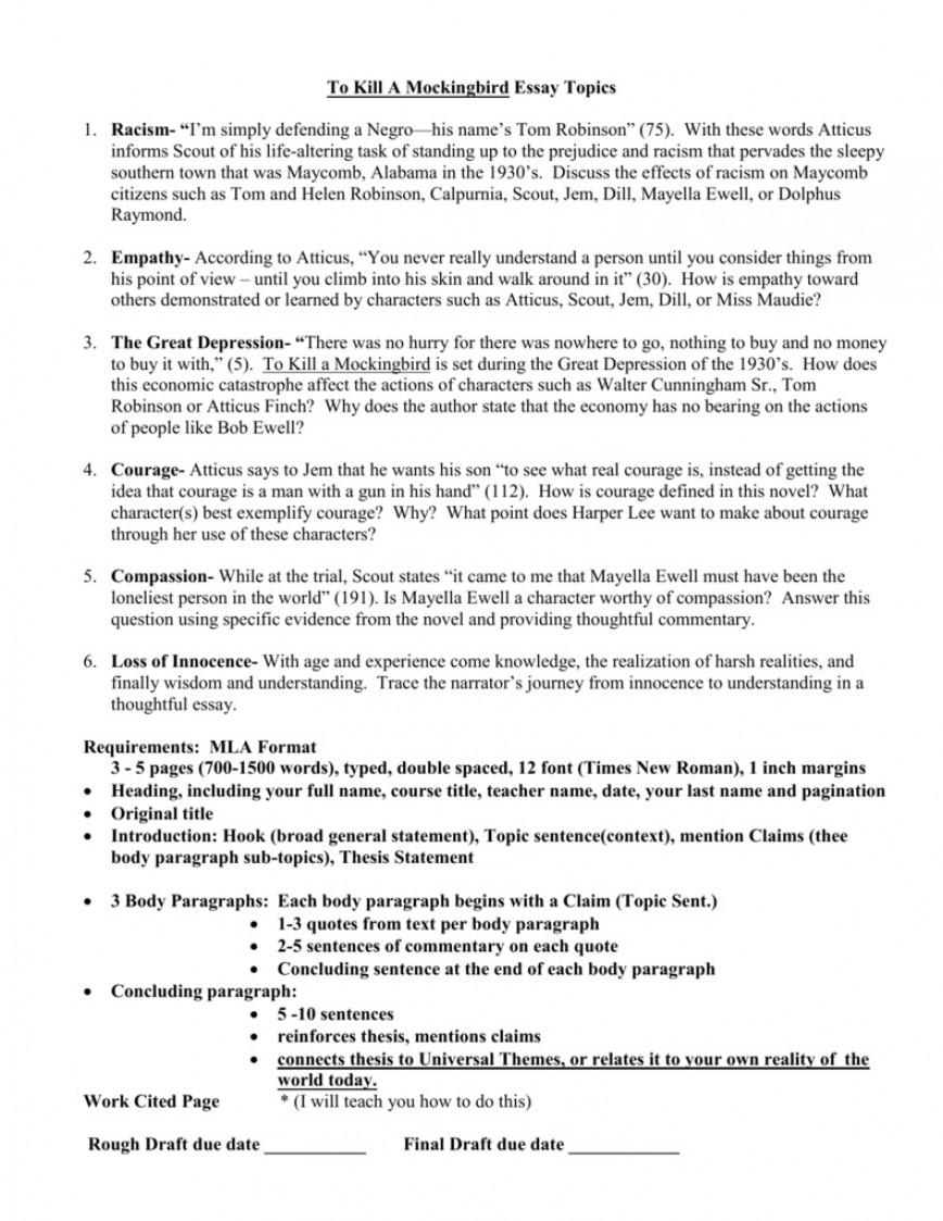 003 Imposing To Kill A Mockingbird Essay Image  Prejudice Thesi Topic