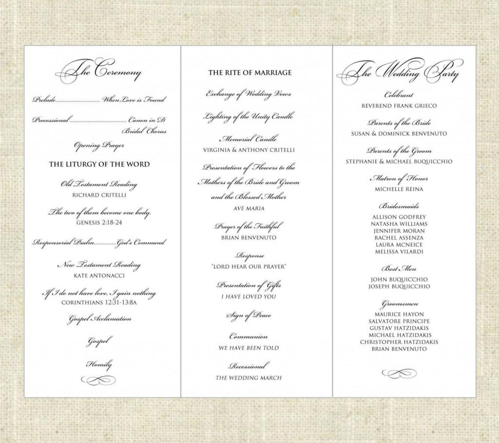 003 Imposing Wedding Program Template Word Sample  Catholic Mas Wording Idea Example SimpleLarge